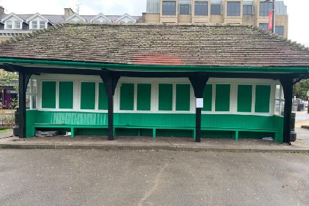 Time for the drinkers to move on? The cabman's shelter Library Gardens in Harrogate near Harrogate Library.