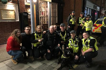 PD Duke with handler Paul and police officers from Ashbourne in Derbyshire.