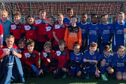 Players from Sheffield 6's U12 - whites and blues - after the Jack Lacey fundraiser.