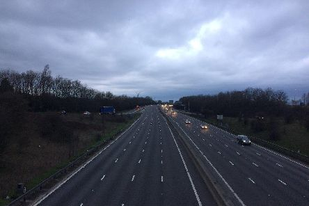 The M1 motorway near junction 31 for Aston, where there is no hard shoulder.