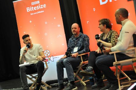 BBC Radio 1xtra presenter Nick Bright, left, with panelists Steve Mayers, Amy Leach and Darren Yeomans, during a BBC Bitesize Careers Roadshow, held at Mortimer Community College, South Shields.