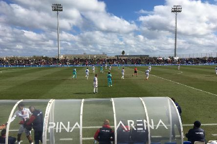 Newcastle United in action at the Pinatar Arena.