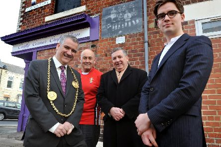The Mayor is pictured with the Crafty Corners David Thompson, Councillor'Ed Malcolm and artist Jack Whitwell with one of the street shrines at the Lawe Top.