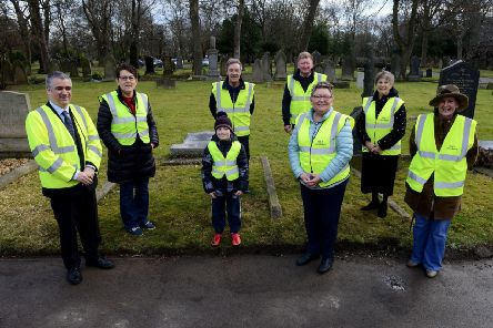 The Mayor of South Tyneside Councillor Ken Stephenson (left) with Friends of Jarrow Cemetery members Pat Childs, Stewart Hill, Michael Ryan, Marie Smith Maureen Prudhoe, Jacob Hill, and Tricia Vickers, . Picture by FRANK REID