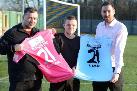 Chloe and Liam Together Forever Trust charity football match at Harton Westoe Miners Welfare. From left organiser Chris Riley, Scott Rutherford and organiser John Grundy