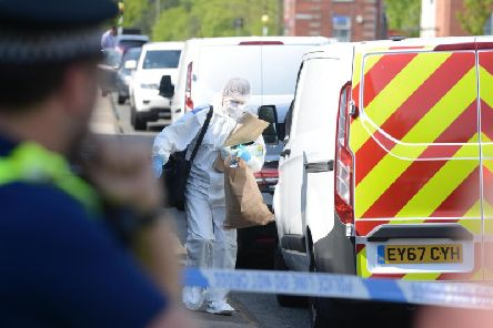 Police and forensic officers at suspected murder on High Street, Jarrow