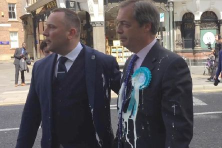 Brexit Party leader Nigel Farage after he was doused in milkshake during a campaign walkabout in Newcastle. Pic: Tom Wilkinson/PA Wire.