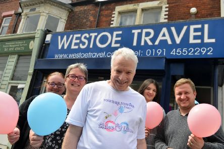Westoe Travel pink and blue day to mark the second anniversary since Liam Curry and Chloe Rutherford sadly died.  (From left) Gillian Vogel, Joan Brett, Graeme Brett, Alice Appleby and Martin Brett.