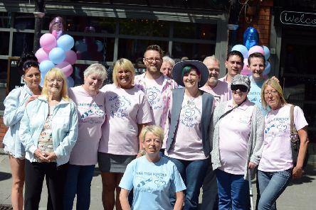 Pink and blue day for Chloe Rutherford and Liam Curry at Ziggys Bar, Prince Georg Square, South Shields with staff and customers