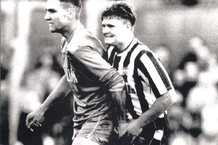 Vinnie Jones and Paul Gascoigne on the field in 1987.
