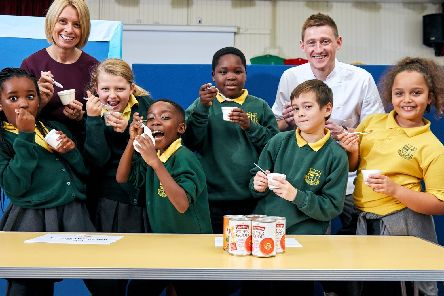 Baxters visit St Bede's Primary School, Rotherham to deliver a 'souper' lesson on nutrition. Students L-R Paris Nyevera (9), Ida Rhodes (9), Bradley Chibaya (9), Sidney Sarawaka (8), Jacob Holt (8), Aponi Williams (8) pictured with Darren Sivewright, Baxters Group Innovation Manager and Head Teacher Amanda Wassell. Pix: Shaun Flannery