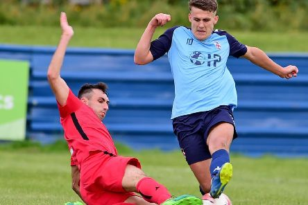 Alfie Raw scored a penalty in Liversedge's FA Vase defeat to Ashton Athletic last Saturday.