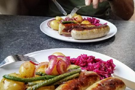 Karen's bratwurst sausages, cooked with a honey'and mustard drizzle