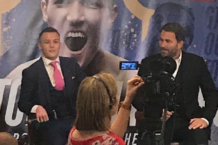 Josh Warrington and Eddie Hearn at the press conference held at Headingley Stadium.