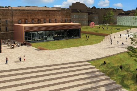 The Huddersfield Blueprint. The view of what is now the Piazza, showing most of the shopping centre demolished and new landscaping down to Queen Street. A modern extension has been added to Huddersfield Library and Art Gallery.