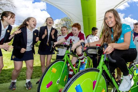 Abby-Mae Parkinson at the Every Can Counts recycling inititiative at her former school, Bradford Grammar School, on the eve of the Tour de Yorkshire.