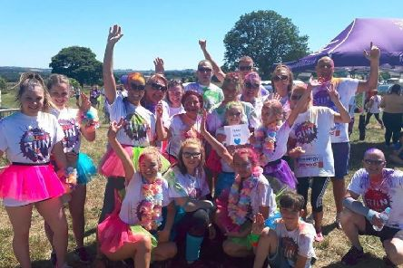 Top Team: Susan Mountain with family and friends at Forget Me Not's Colour Run last year.