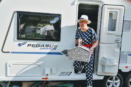Karen enjoying her caravan stay