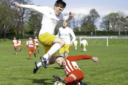Scott Lightowler, pictured for Crackenedge last season, has made the close season switch to Littletown and he converted a penalty to help the Beck Laners record a 3-0 victory over Calverley in the Yorkshire Amateur Suprme Division last Saturday. Pic: Allan McKenzie