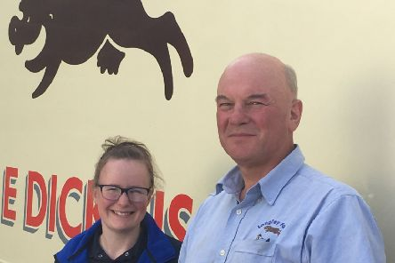 Longley Farm owner Jimmy Dickinson with Katie Kempf from Longley Farm.