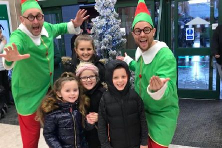 The elves with Hollie, Noah, Ava  and Lacey