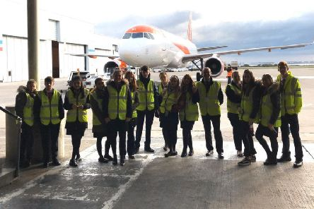 College students on a tour of Liverpool John Lennon Airport