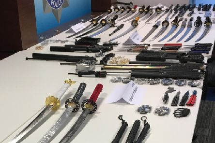Just some of the weapons recovered