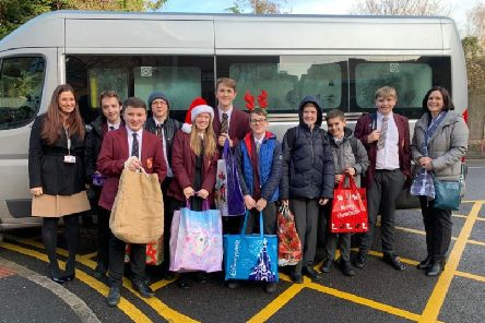 Rainford High's Student Council visited Ormskirk Hospital with presents