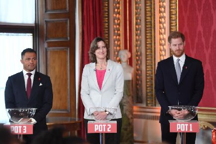 The draw for the Rugby League World Cup at Buckingham Palace led by HRH The Duke of Sussex with Katherine Grainger and Jason Robinson. Picture: SWPix
