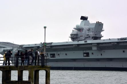 HMS Prince of Wales leaving Portsmouth Naval Base for the first time heading for a visit to its affiliated city of Liverpool