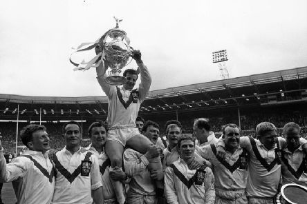 Jubillant St Helens players carry their skipper Alex Murphy on their shoulders after they had won the Rugby League Challenge Cup at Wembley stadium in 1966.