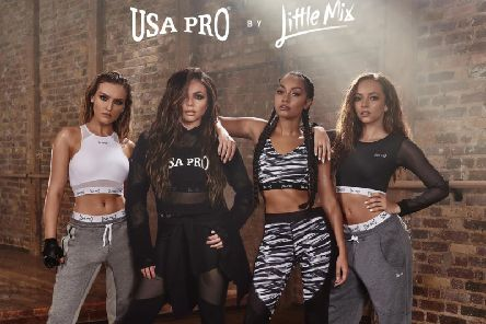 Little Mix try out their own USA Pro range for size.