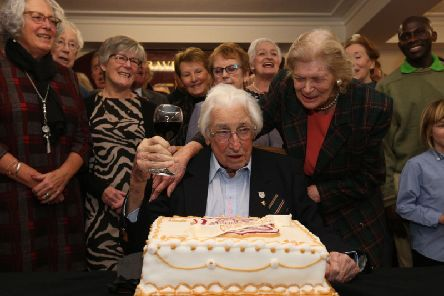 Britain's oldest living Olympian Bill Lucas celebrates his 100th birthday at Belgrave Harriers running club in Wimbledon, London. PA picture.