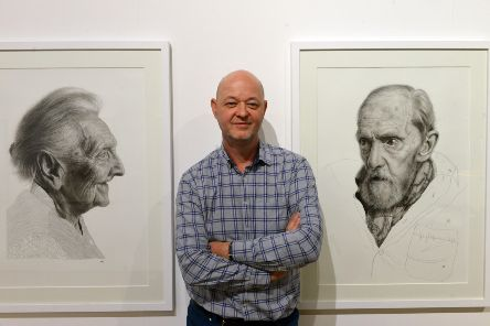 Artist Andrew Tift with his One Day You'll Be Old Too exhibition at Sunderland Museum and Winter Gardens