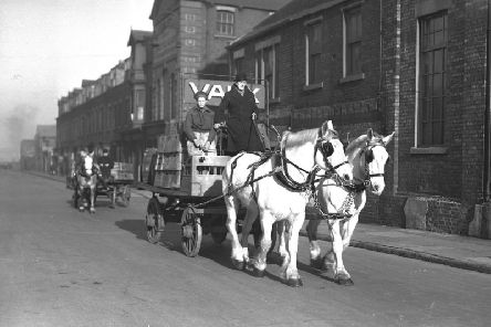 Vaux's dray and horses with deliveries in 1949.