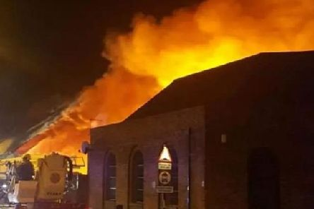 Fire as it raged at the former bingo hall site in Southwick on Friday, February 3, 2017.