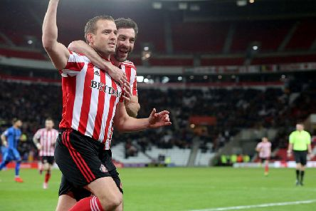 Lee Cattermole celebrates his goal.