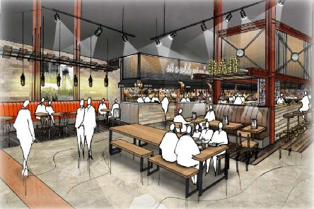 An image of what the food hall at The Riverwalk complex could look like.
