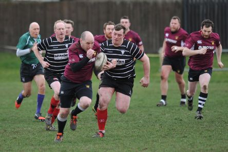Durham and Northumberland Rugby between Houghton RFC (claret) and Darlington, played at Dairy Lane, Houghton-le-Spring.