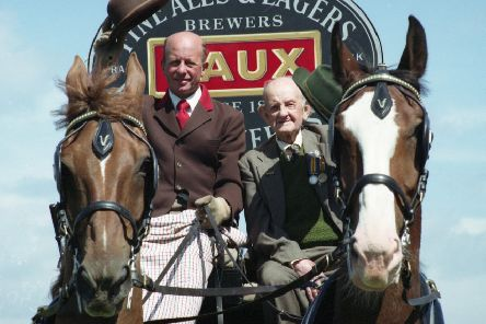 First World War veteran Bill Rennoldson (96) was treated to a ride with the Vaux horses on July 13, 1993. He's pictured with dray driver Robert Macklin riding through the city streets