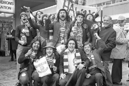 Fans pictured at Sunderland station as they got  ready to go to the 1973 FA Cup Final - the last time Sunderland  won at Wembley.