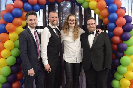 Members of THRIVE NE, winners of the 2018 Charity & Community Initiative Award, with Lui Asquith, winner of the Ally of the Year Award. L-R Michael Young, Drew Dalton, Lui Asquith and Stuart Mullen