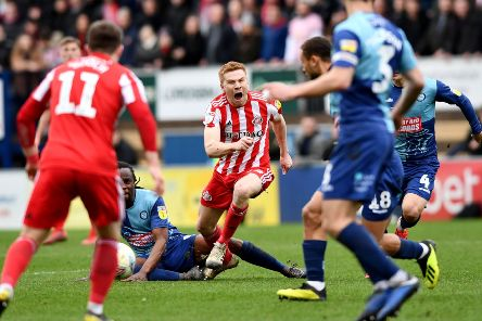 Duncan Watmore was wiped out by a bad challenge from Wycombe midfielder Marcus Bean.