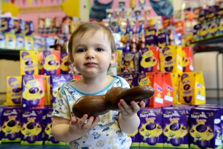 2 year old William Smith from Seaham tucking into his easter Bunny. Picture by FRANK REID