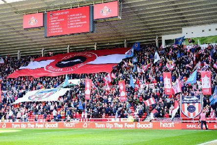 The new flag display in the Roker End.