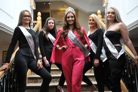Top Model of Sunderland finalists, left to right, Emily Skinner, Chloe White, Lauren Talbot, and Aimee Jade Robinson, at The Grand Hotel, Seaburn, with 2018 winner Georgia Mordey, centre.