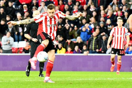 Chris Maguire thumps home Sunderland's goal in the play-off semi final second leg