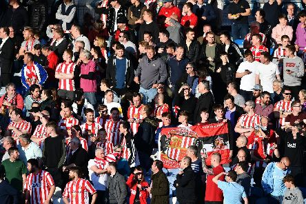Sunderland fans at Fratton Park, Portsmouth, as the Black Cats secure their place at Wembley.