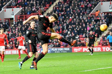 Luke O'Nien scores at the Valley earlier this season