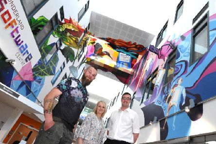 Artist Frank Styles, Sunderland Software Centre Manager Berni Whitaker and Coun Michael Mordey